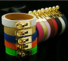 Fashion Classical Plated Gold Pu Leather Fastener Letter Bracelet