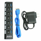 7port USB 2.0 3.0 HUB With Power On/Off Switch High Speed Adapter Cable For PC K