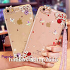 Rhinestone Bling Crystal Diamonds Soft TPU Back Phone Case Cover & neck strap A