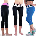 Women Sports Stretchy Trouser Running Fitness Cropped Leggings Pants Lift Hip