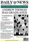 Newspaper Themed Graduation Card or A4 Poster For Framing - Amazing !
