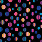 PATIO SPLASH DOTS RAINBOW BLACK BENARTEX QUILT SEWING FABRIC *Free Oz Post