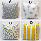 Throw Pillowcase, Yellow and Gray Pillow cover, Floral & Stripes
