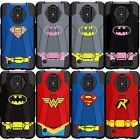 For LG Phone Models Armor Rugged Combat Dual Kickstand Case  Superman Batman