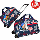 Navy Floral Womens Wheeled Holdall Travel Hand Luggage Cabin Bag Weekend Gym