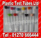 Clear Polystyrene Conical test tubes,150 x17mm plastic tube & Top, 20ml Vol, New