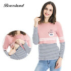 Women's Maternity Nursing Top Shirt Striped Patchwork Breastfeeding Clothes/T