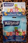 Bacofoil Rainbow Kids Resealable Snack Bag Pack with Fun Characters x 30 Small
