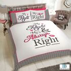 Urban Unique Novelty Mr Right & Mrs Always Right Duvet Cover Bedding Set