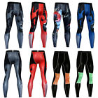Men's Compression Long Pants Athletic Sports Gym Tights Printed Skin Base Layer