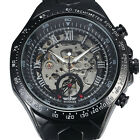 Successful Mens Skeleton Mechanical Automatic Black Stainless Band Wrist Watch
