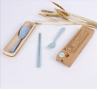 Kids Wheat straw tableware three - piece chopsticks spoon fork suit travel Cute