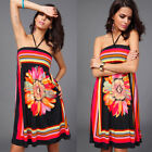 Women Ladies Floral Printed Bohemian Dress Sexy Sleeveless Summer Beach Dresses