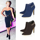 Ladies Womens New Pointed Toe Ankle Boots Stiletto Sexy Mid High Heel Shoes Size