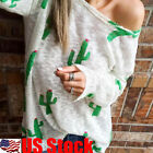 Women Casual Long Sleeve Knitted Pullover Loose Cactus Print Shirt Blouse Tops