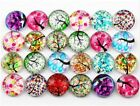 12mm Flatback Cameo Embroidery Mixed Tree Round Glass Cabochon 50pcs