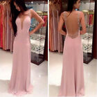 Women's Long Chiffon Lace Evening Formal Party Dress Bridesmaid Prom Gown High
