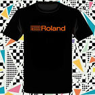 New Roland Synthesizer Music Logo Men's Black T-Shirt Size S-3XL