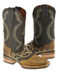 Men's Honey Brown Inlay Design Western Wear All Real Leather Cowboy Boots Rodeo