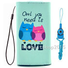 #3 NEW Cartoon Flower Leather slots wallet pouch bag cover case with 2 straps C