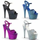 PLEASER Adore-710LG Blue Black Purple Silver Glitter Stripper Dancer Exotic Heel