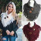 Women Cable Knit Heather Fringe Shoulder Warmer Button Infinity Cowl Scarf  Wrap