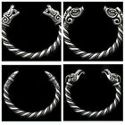 Large Viking Wolf Odin's Raven Head Solid Hand Silver Pewter Bracelet Bangle