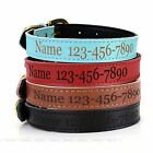 Custom Personalised PU Leather Pet Dog Collar Engraved With Name Phone Number