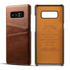For Samsung Galaxy Note 9 S8 Luxury Genuine Leather Card Holder Case Back Cover