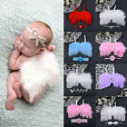 Newborn Baby Angel Wings & Headband Flower Costume Photo Photography Prop Outfit
