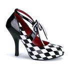 "Sexy 4"" Heel Black White Harlequin Costume Women's Shoes Pumps"