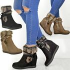 Womens Ladies Winter Faux Fur Wedge Platform Ankle Boots Zip Lined Shoes Size