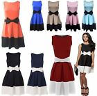 Womens Sleeveless Tie Bow Detail Contrast Pleated Ladies Flared Skater Dress