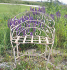 Wrought Iron Garden Curl Bench With Leaves, Solid Metal Furniture