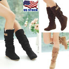Usa Womens Autumn Winter Slouchy Mid Calf Boots Lace Cuff Hidden Heel Shoes Size