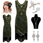 Vintage 1920s Flapper Dress Gatsby Evening Tassel Sequin Outfit Party Costume