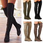 Women Black Lace Up Side Zip Over The Knee Boots Thigh High Combat Low Heel Shoe