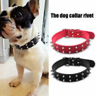Pet Puppy Dog Collar Adjustable Rivet Spiked Studded PU Leather Neck Strap AH