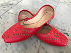 Womens Khusa Leather Bollywood Indian Fancy Juti Pakistani Sandal Red Khussa