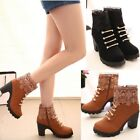 Women winter High Heel Martin Ankle Boots Zipper Casual Shoes Mid calf shoes new