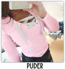 Womens V neck Lace Up Sweater Jumper Tops Sexy Long Sleeve Pullover Blouse Shirt