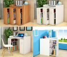 Wooden 3in1 Vertical Sliding Drawers Book Shelves Shelf Bookcase Storage Cabinet