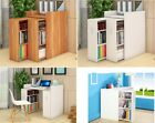 Wooden 2in1 Vertical Sliding Drawers Book Shelves Shelf Bookcase Storage Cabinet