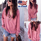 USA Womens Lace Up Loose Tops Ladies Bandage V Neck Long Sleeve T Shirt Blouse