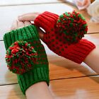 Half Finger Snow Hunting Contrast Winter Warm Soft Warmers Hand-Knitted Gloves