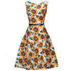 Women Lady Retro 50s Swing Floral Housewife Pinup Rockabilly Evening Party Dress
