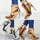 Womens Ladies Metallic Ankle Boots Block High Heel Pointed Toe Rose Silver Size