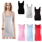 womens lady extra long basic sleeveless stretch