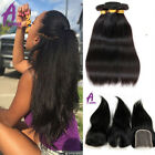 4bundles Brazilian Hair With Closure Straight Human Hair Extensions US STOCK