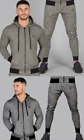 Intense Mens Fashion Tracksuit Hooded Full Zip Top Pant Slim Fit  Green Grey New